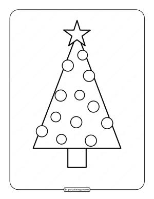 Printable Christmas Tree Coloring Page 02