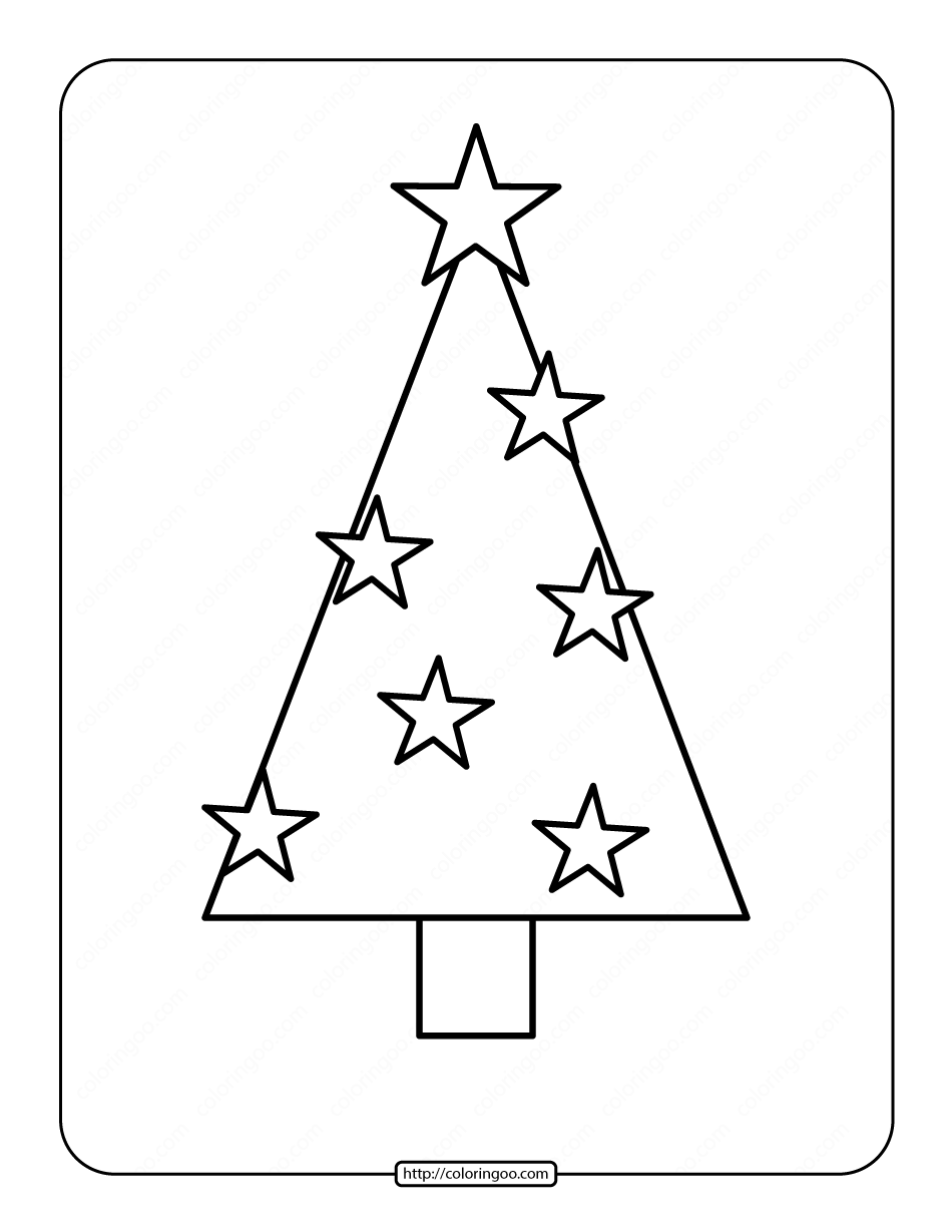Printable Christmas Tree Coloring Page 05