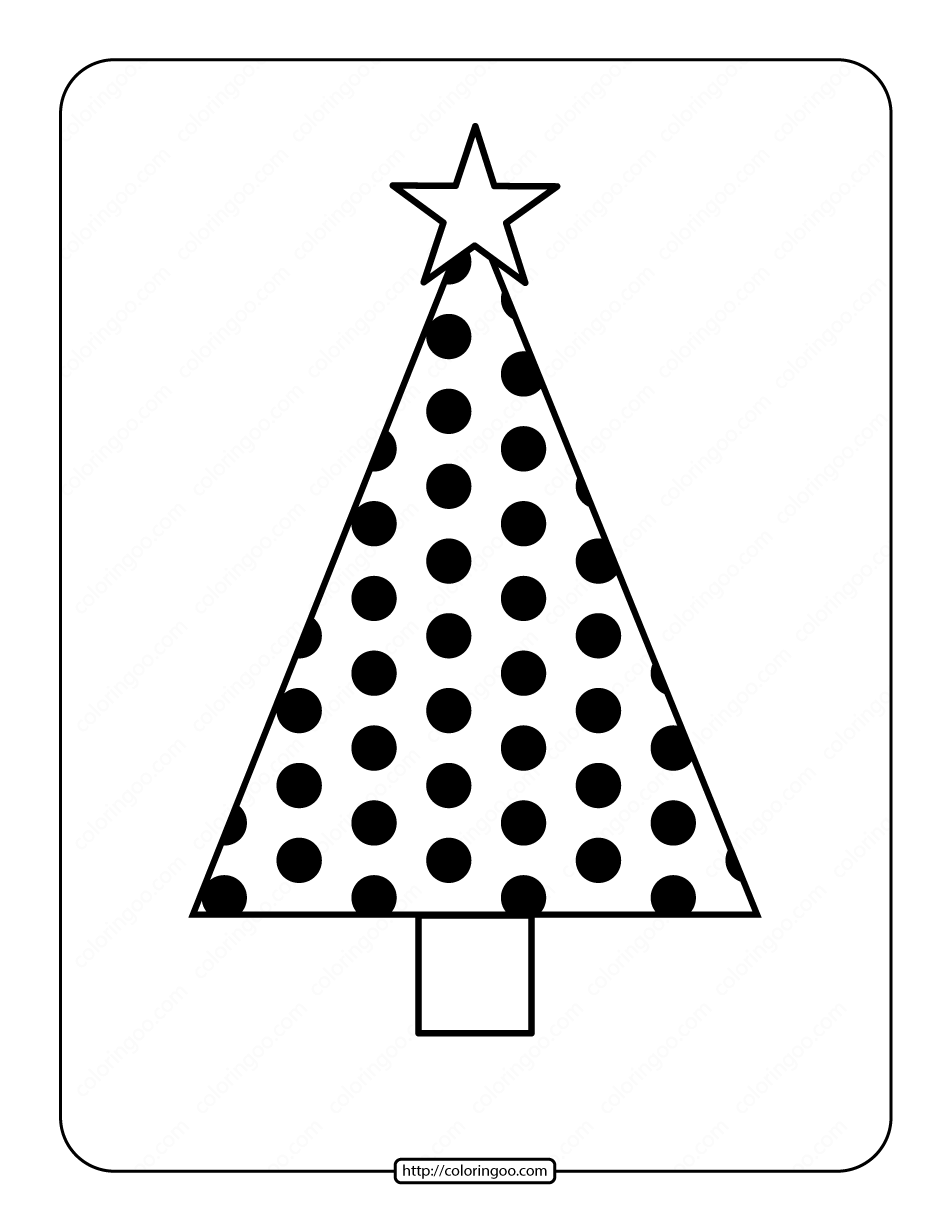 Printable Christmas Tree Coloring Page 06