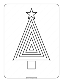 Printable Christmas Tree Coloring Page 07