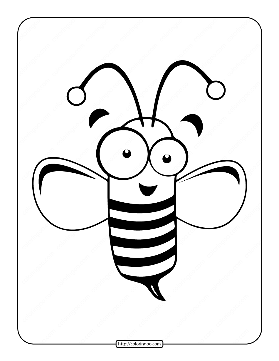 Printable Cute Bee Coloring Page