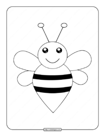 Printable Cute Bee Outline Coloring Page