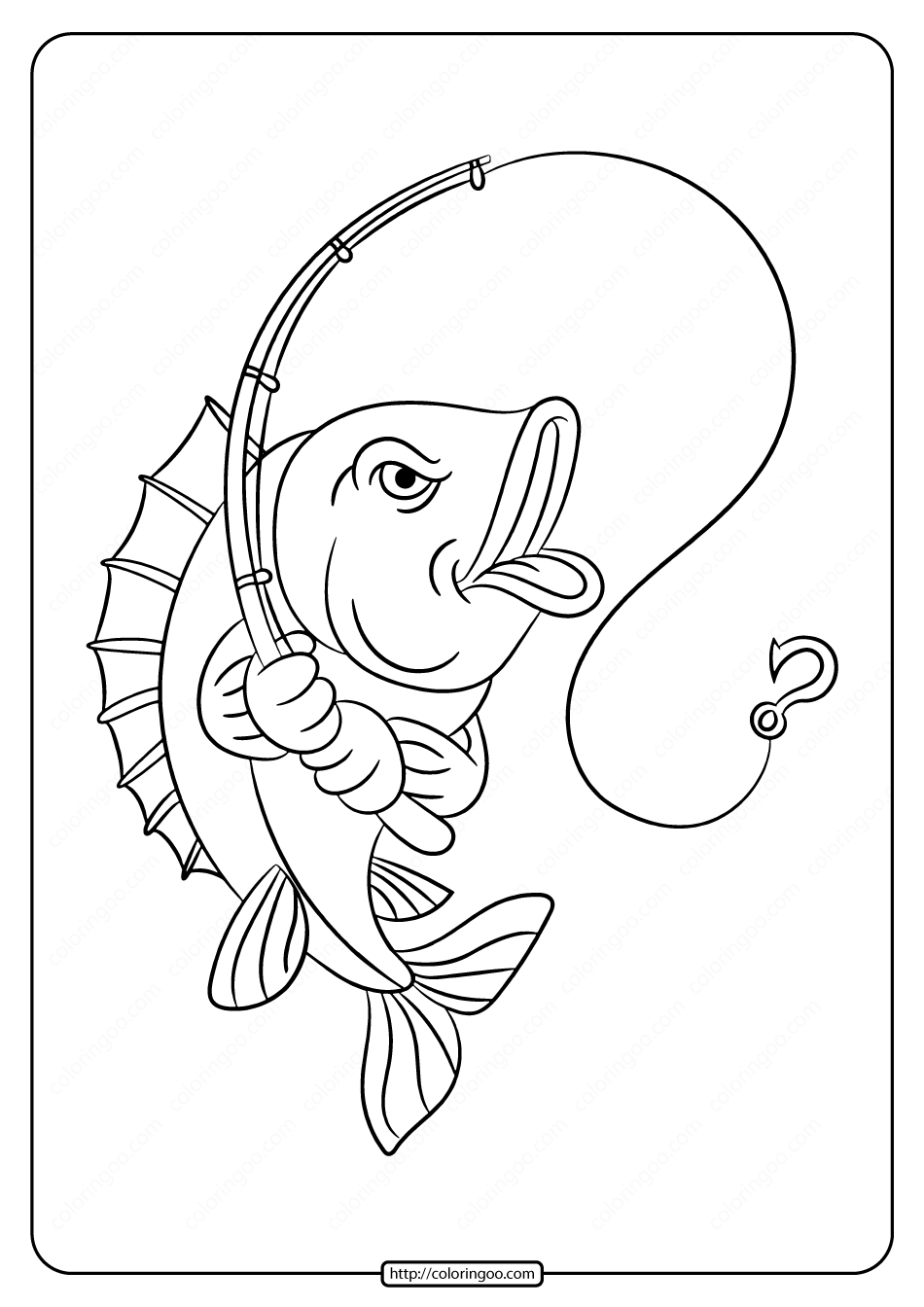 Printable Fish with Fishing Rod Coloring Pages