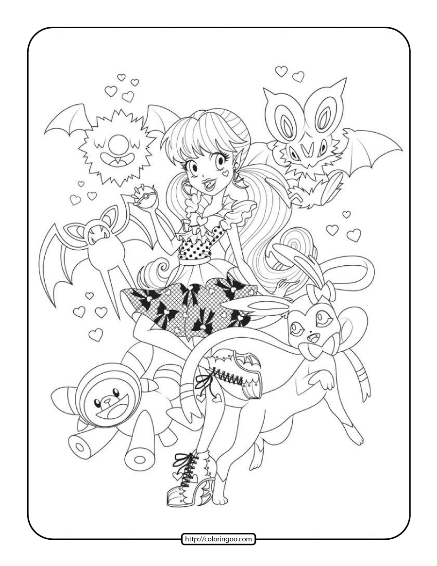 Printable Pokemon Monster High Coloring Page