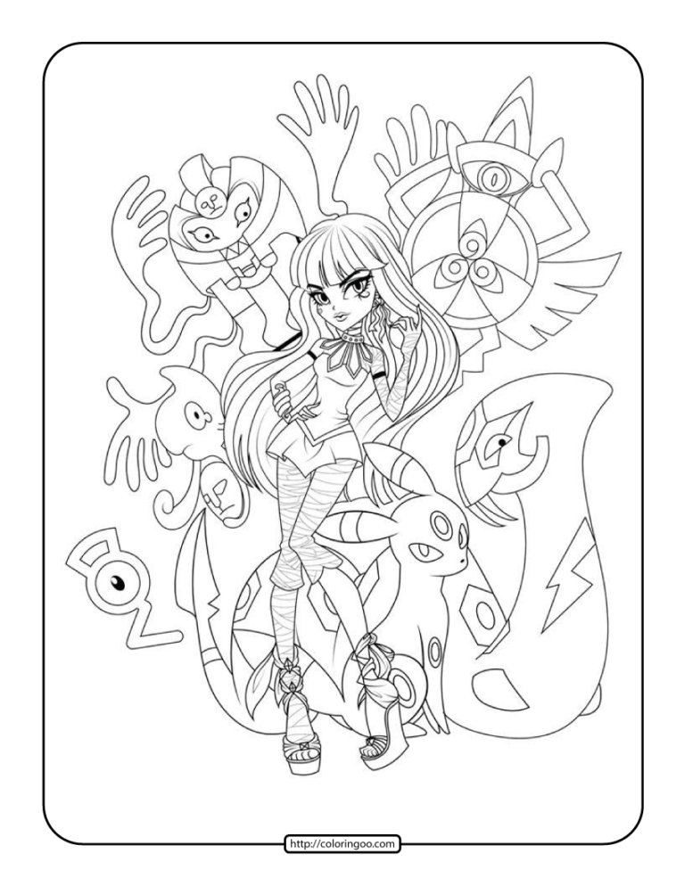 Printable Pokemon Monster High Coloring Pages