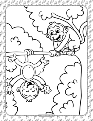 Printable Silly Monkeys Coloring Page