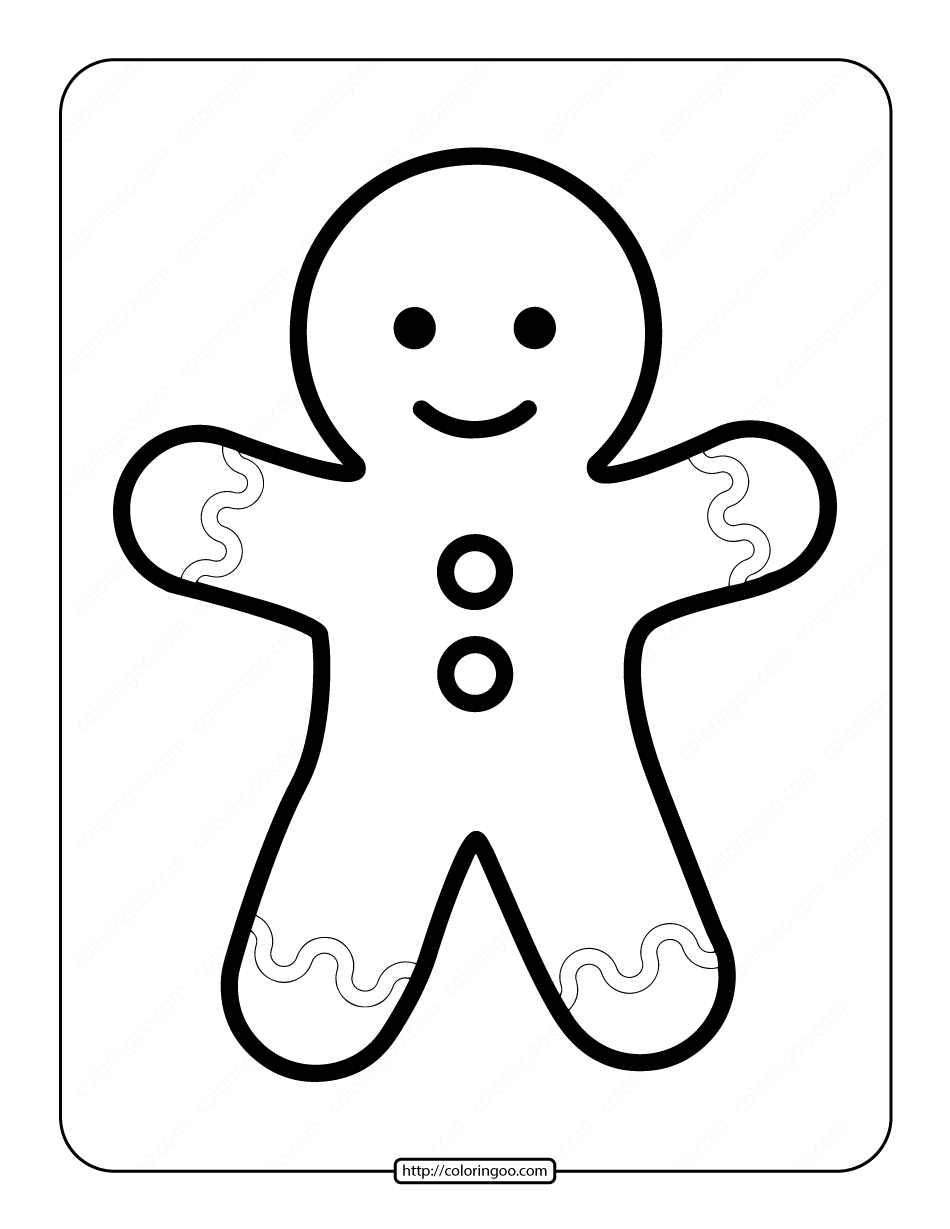 Printable Simple Gingerbread Man Coloring Page