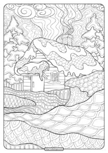 Printable Zentangle Winter Cabin Coloring Pages