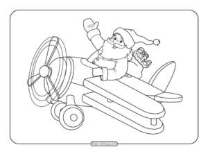 Santa Claus on a Plane Coloring Page