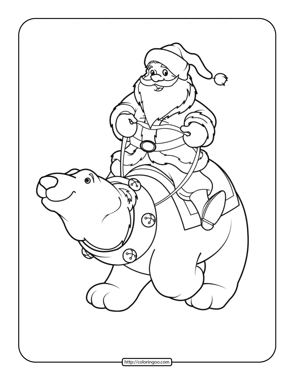 Santa Claus on a Polar Bear Coloring Page