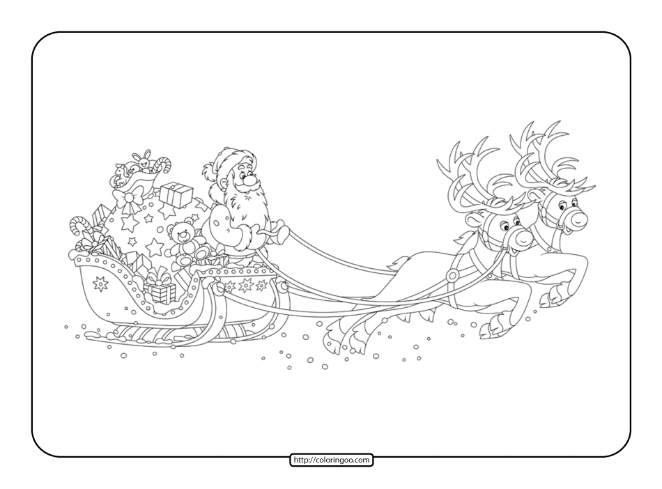 Santa Claus on Sleigh with Reindeer Coloring Page