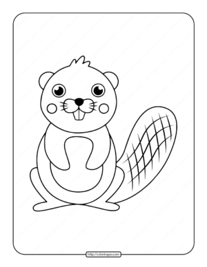 Simple Big Toothed Beaver Coloring Page