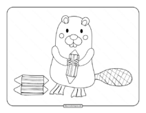 Standing Beaver Holding a Log Coloring Page