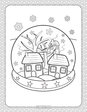 Winter Snow Globe Coloring Page