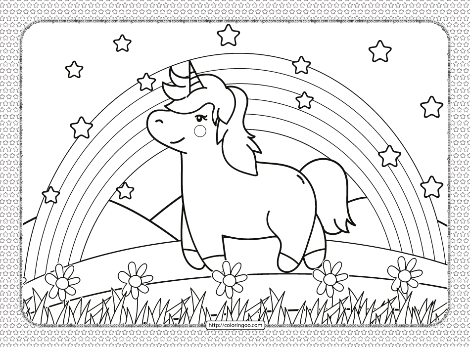 A Unicorn Under the Rainbow Coloring Page