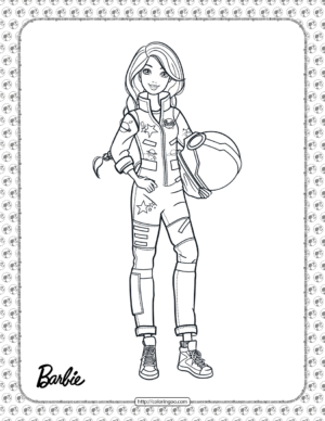 Astronaut Barbie Coloring Page