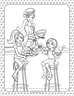 Barbie in the Kitchen Coloring Page