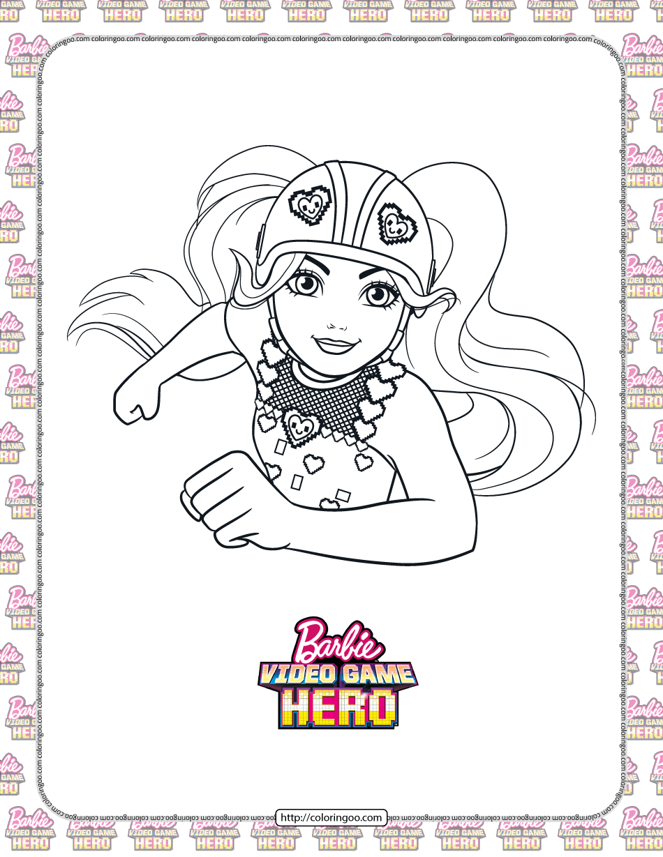 Barbie Video Game Hero Coloring Page