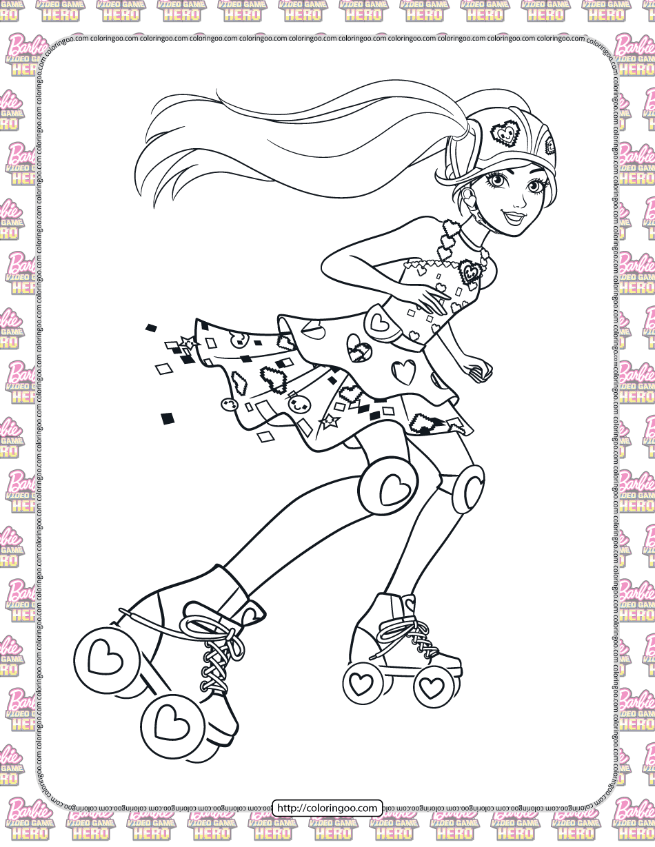 Barbie Video Game Hero Coloring Pages for Girls