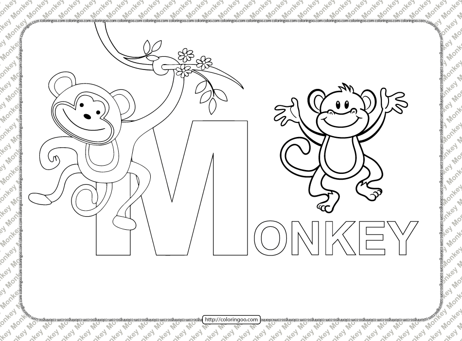 Cartoon Monkey Word Coloring Page