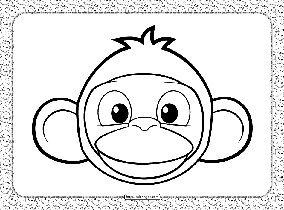 Cute Monkey Head Coloring Page