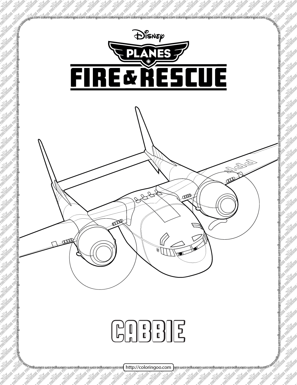Disney Planes Fire and Rescue Cabbie Coloring Page