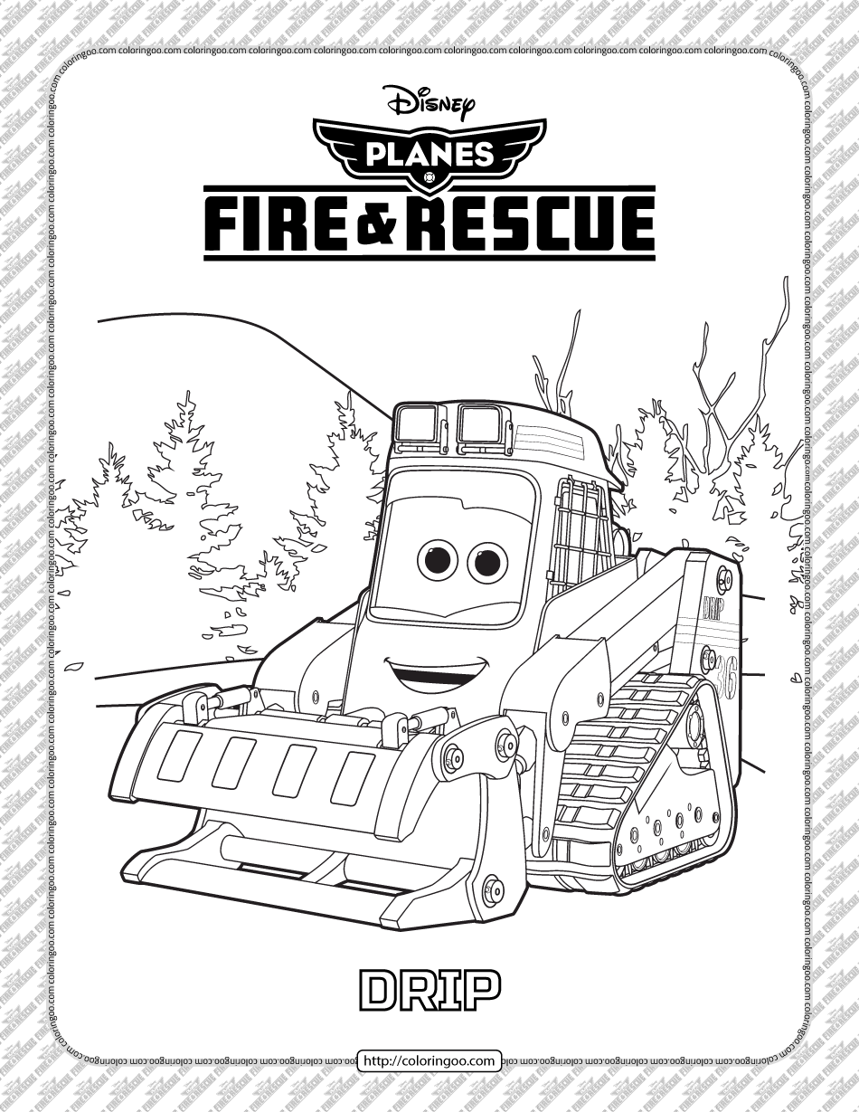 Disney Planes Fire and Rescue Drip Coloring Page