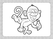 Happy Monkey Coloring Page
