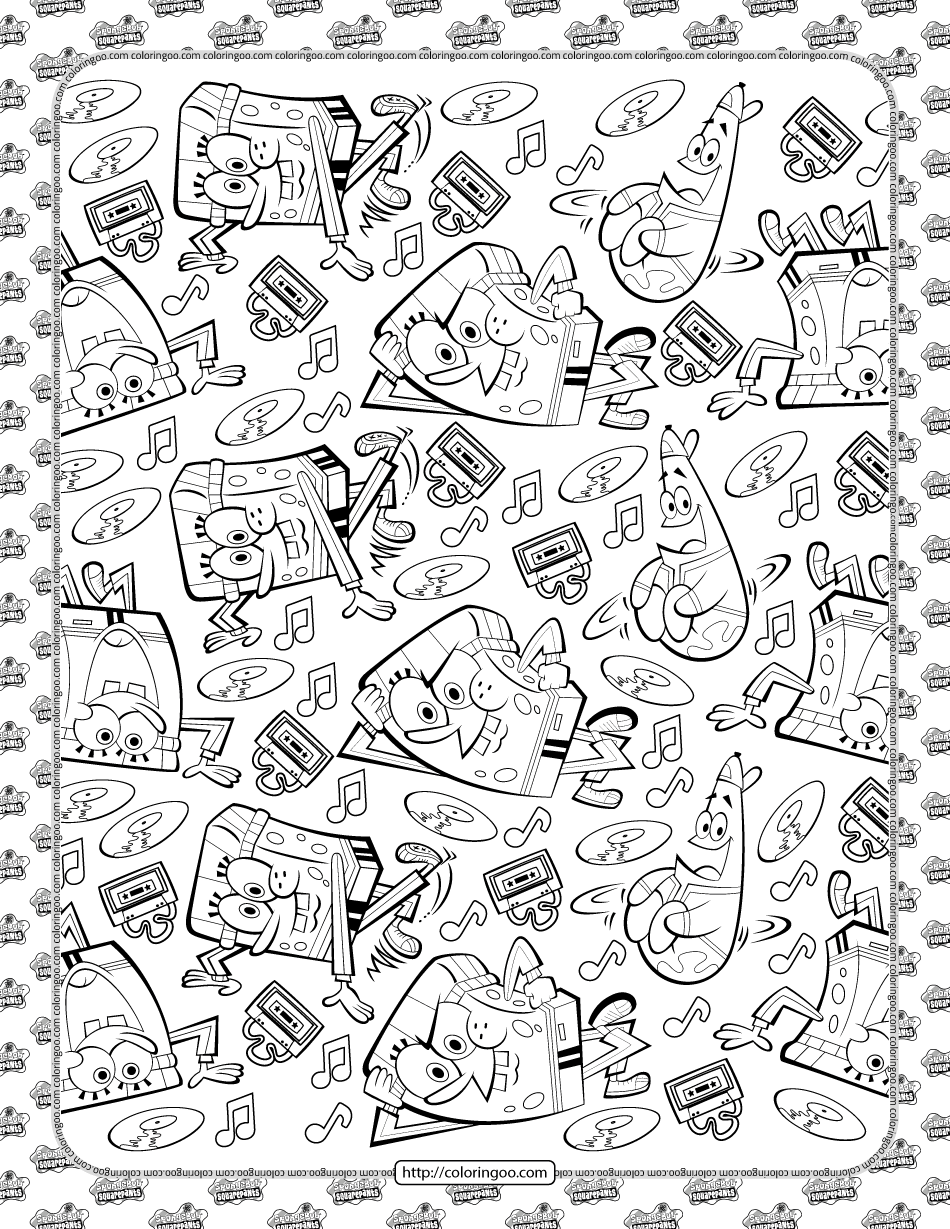 Kickin it Spongebob Style Coloring Page