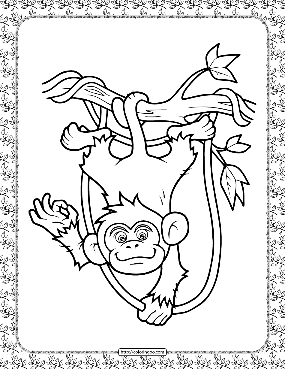 Monkey in the Branch Coloring Page