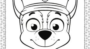 Paw Patrol Cartoon Chase Head Coloring Page
