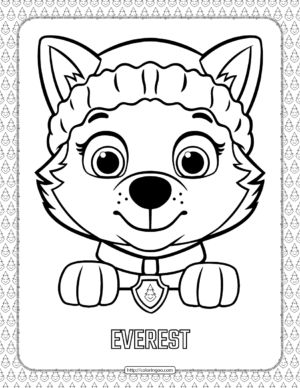 Paw Patrol Cartoon Everest Head Coloring Page