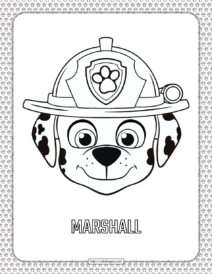 Paw Patrol Cartoon Marshall Head Coloring Page