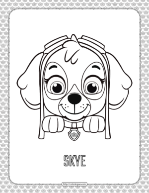 Paw Patrol Cartoon Skye Head Coloring Page