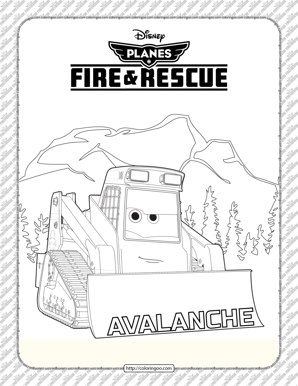 Planes Fire and Rescue Avalanche Coloring Page