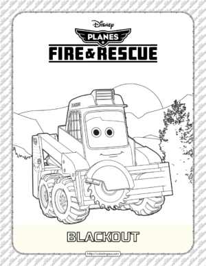 Planes Fire and Rescue Blackout Coloring Page