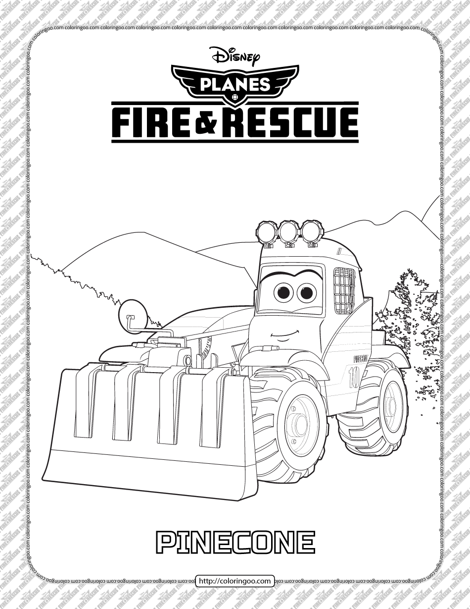 Planes Fire and Rescue Pinecone Coloring Page