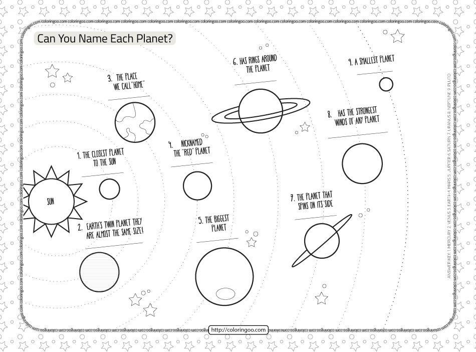 Planets in the Solar System Worksheet