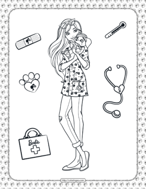 Printable Barbie Pet Vet Coloring Page