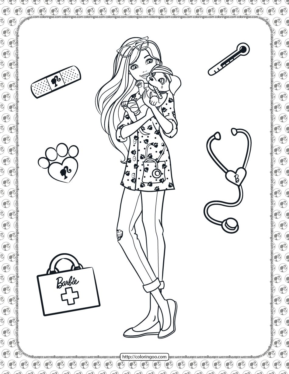 Printable Barbie Pet Vet Coloring Page