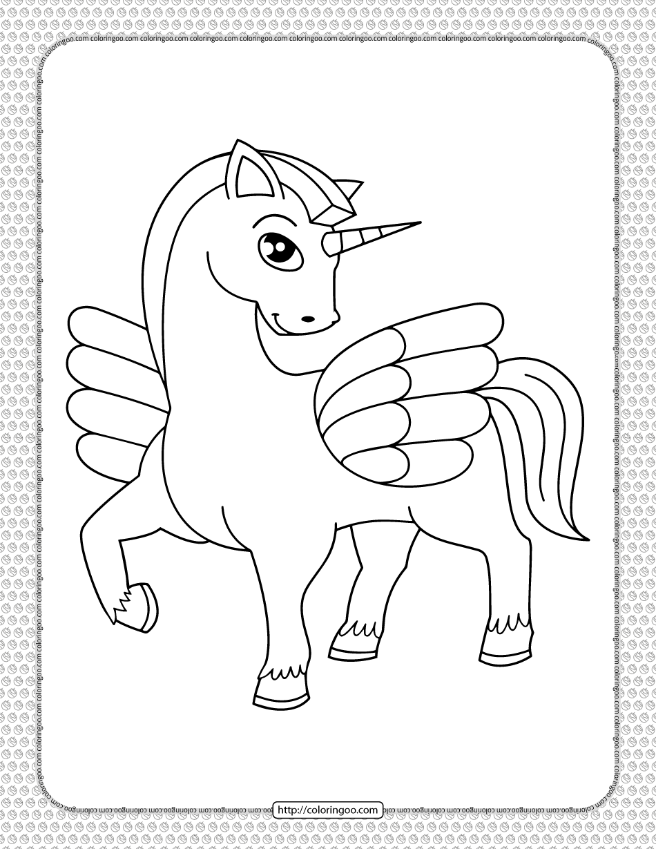 Printable Cute Winged Unicorn Coloring Page