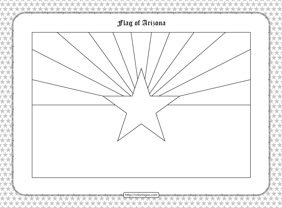 Printable Flag of Arizona Outline Coloring Page