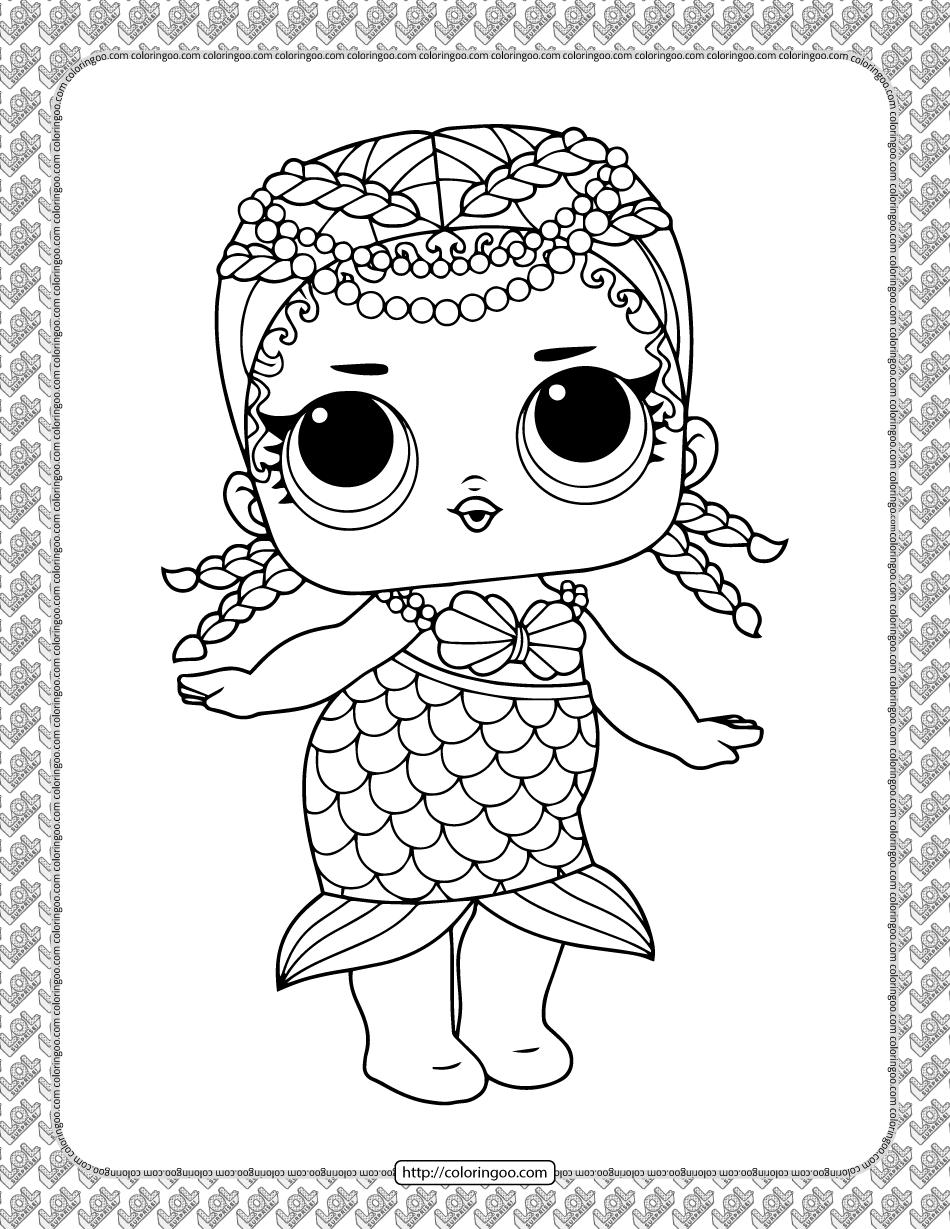 Printable LOL Doll Merbaby Coloring Page