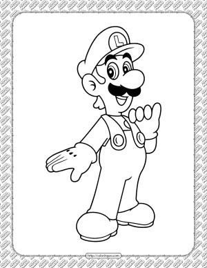 Printable Luigi Coloring Page