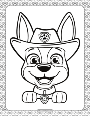 Printable Paw Patrol Tracker Head Coloring Page