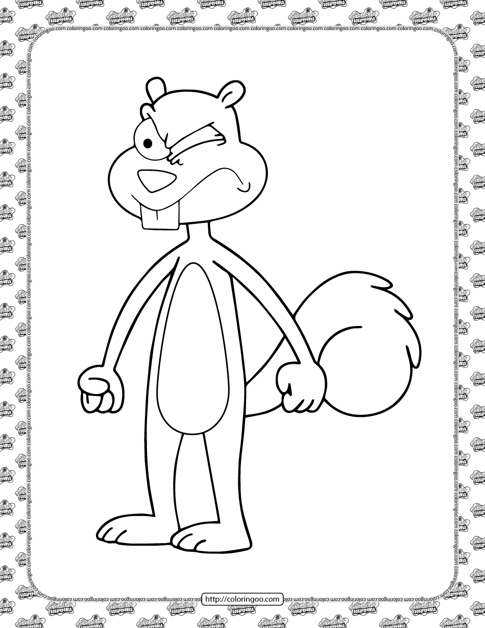 Printable Sandy Cheeks Coloring Page