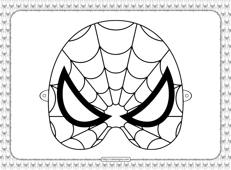 Printable Spiderman Mask Coloring Sheet