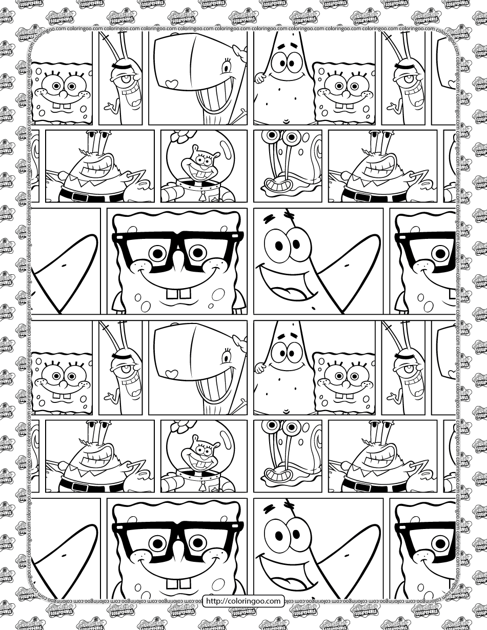 Printable SpongeBob and Friends Coloring Sheet