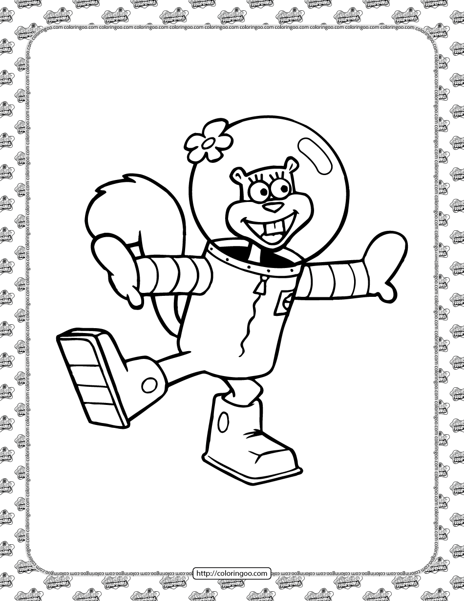 Sandy Cheeks Coloring Page