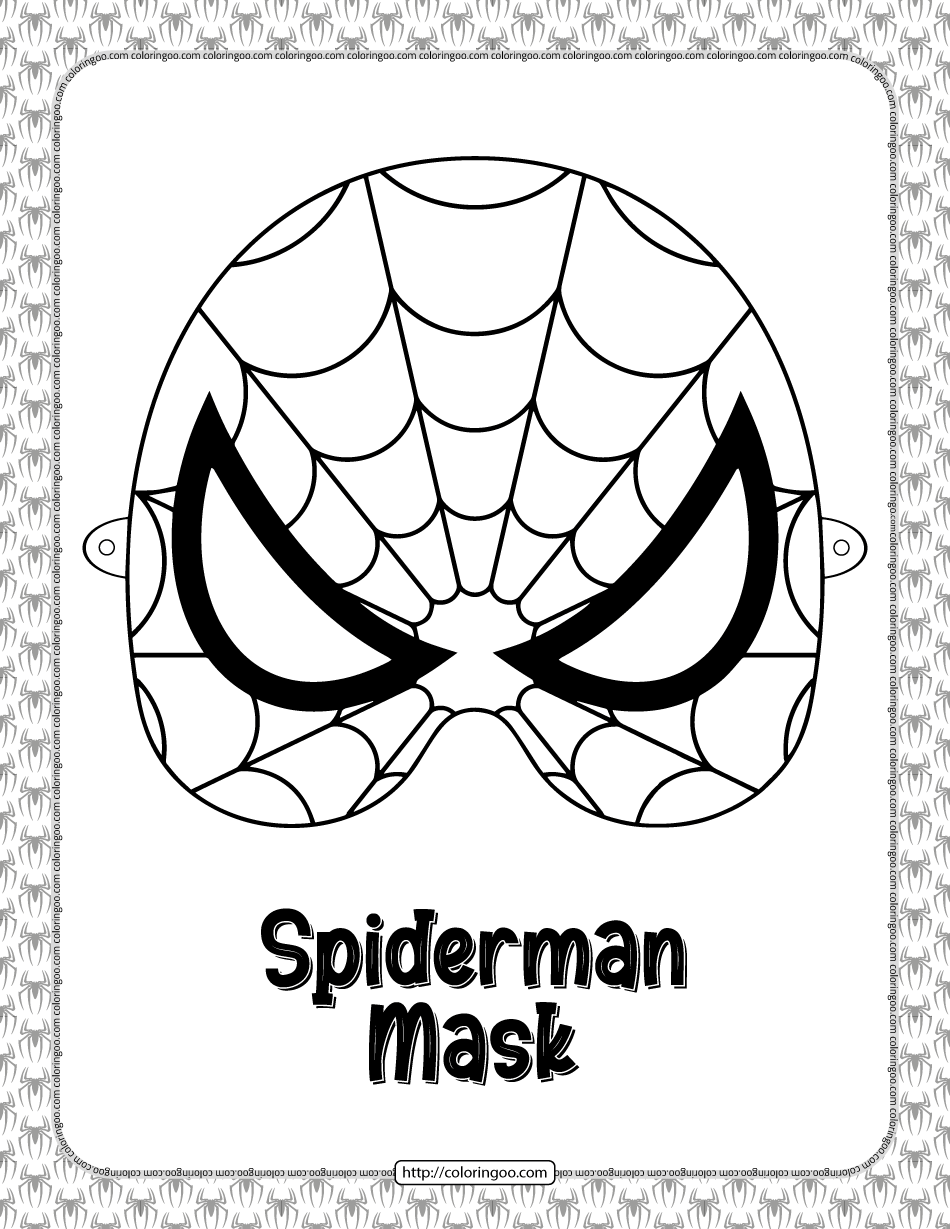 Spiderman Mask Coloring Sheet